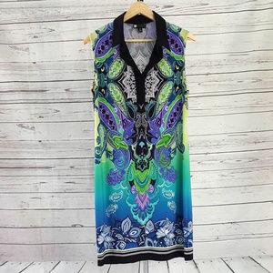Carole Little black blue paisley sleeveless dress
